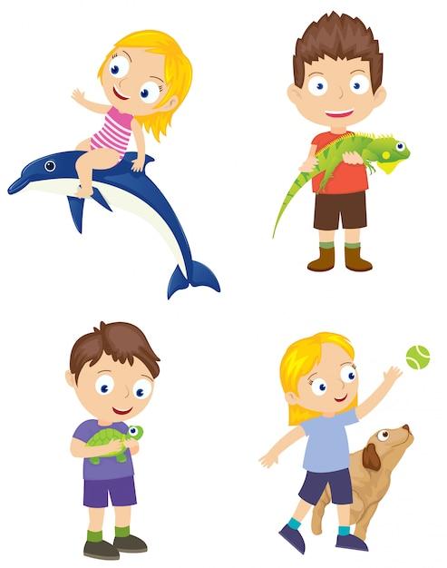 Conjunto de crianças com animal de estimação Vetor Premium