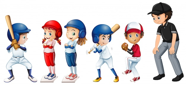 Conjunto de crianças de beisebol Vetor Premium