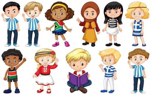 Conjunto de crianças de diferentes países Vetor grátis