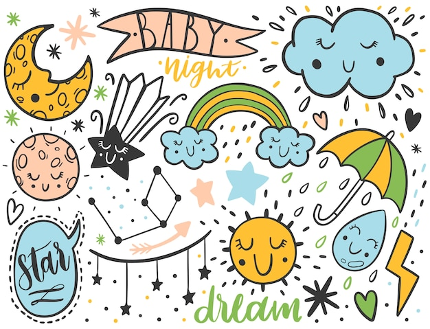 Conjunto de crianças de esboço de doodle de vetor Vetor Premium