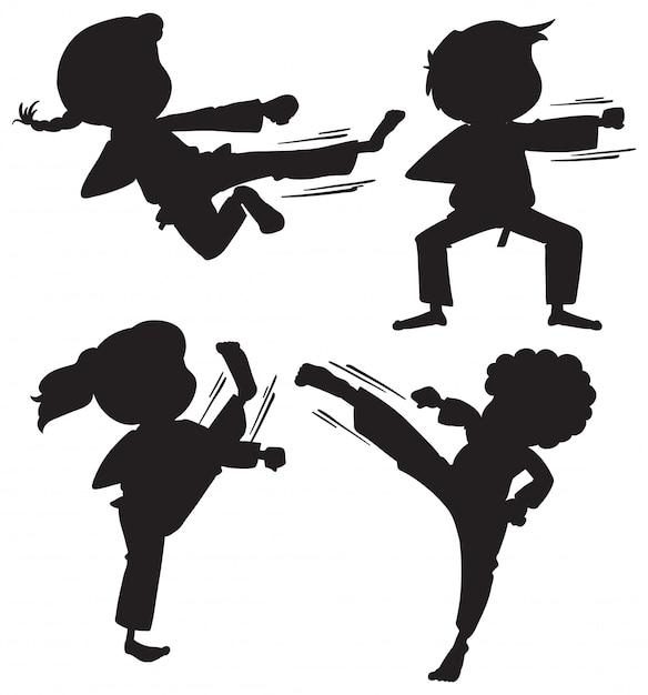 Conjunto de crianças de karatê de silhueta Vetor grátis