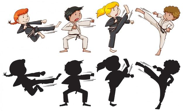 Conjunto de crianças de karatê Vetor grátis