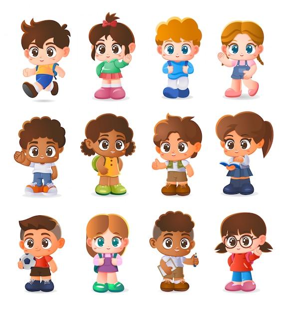 Conjunto de crianças, design de personagens, desenhos animados Vetor Premium