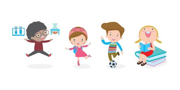 Conjunto de crianças em idade escolar no conceito de educação, de volta ao modelo de escola com as crianças, a criança vai à escola, de volta à escola, isolada no fundo branco ilustração. Vetor Premium