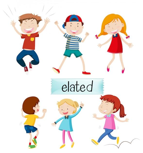 Conjunto de crianças exultantes Vetor grátis