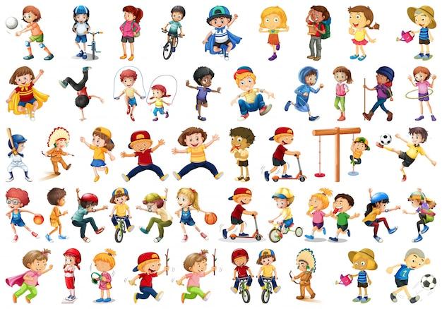 Conjunto de crianças fazendo atividades Vetor grátis