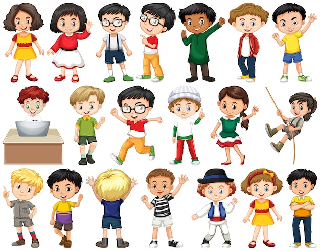 Conjunto de crianças felizes, cumprimentando Vetor grátis