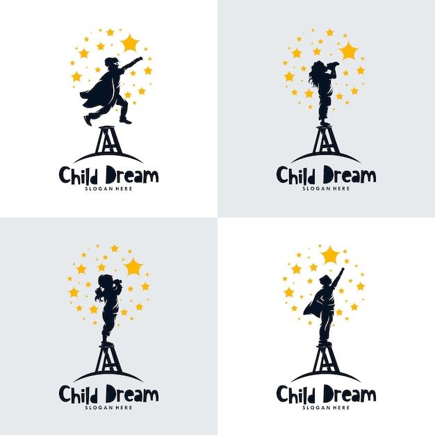 Conjunto de crianças mira no design do logotipo das estrelas Vetor Premium