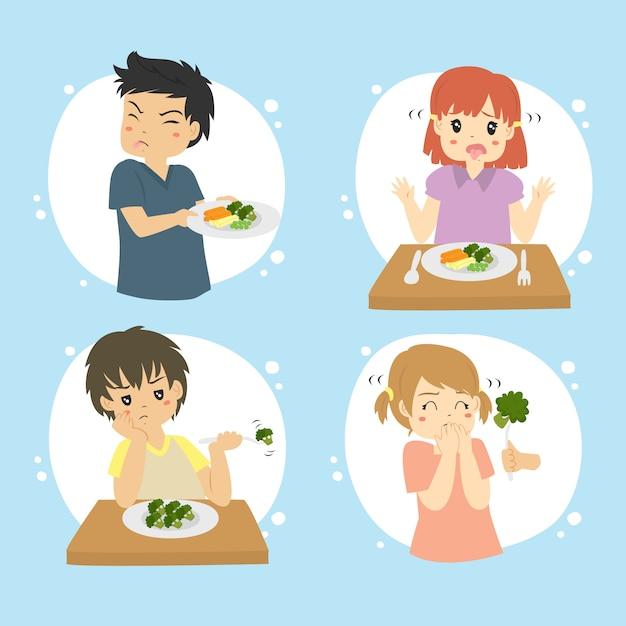 Conjunto de crianças se recusam a comer legumes vector conjunto Vetor Premium