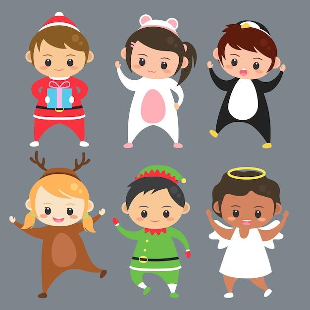 Conjunto de crianças usam trajes ilustração vector Vetor Premium