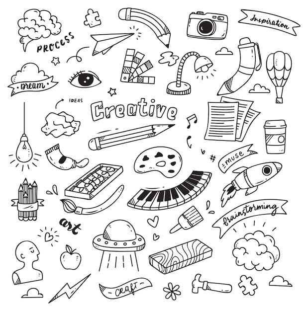 Conjunto de criatividade doodle isolado no fundo branco Vetor Premium