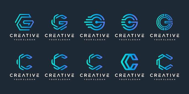 Conjunto de criativo letra c e letra g logotipo modelo Vetor Premium