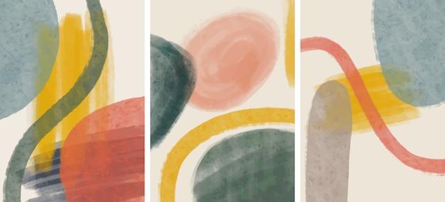 Conjunto de criativos minimalistas pintados à mão. fundo de artes abstratas. Vetor Premium