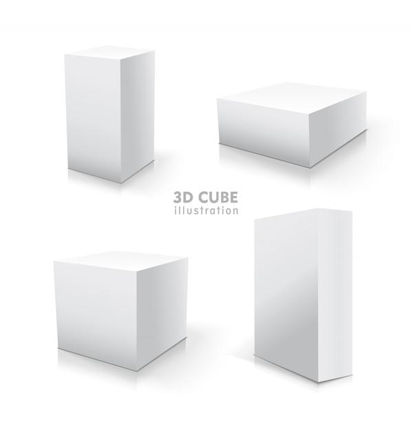 Conjunto de cubo branco. estoque de ilustração 3d. Vetor Premium