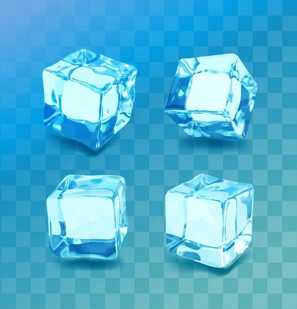 Conjunto de cubos de gelo realista. coleção de gelo azul, isolado, atualização, plano de fundo transparente. Vetor Premium