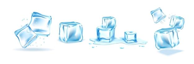 Conjunto de cubos de gelo realistas isolado no branco Vetor Premium