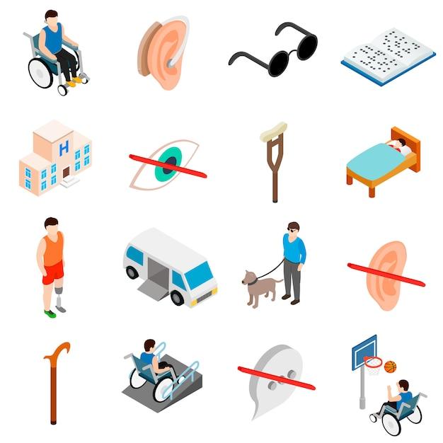 Conjunto de cuidados para pessoas com deficiência Vetor Premium