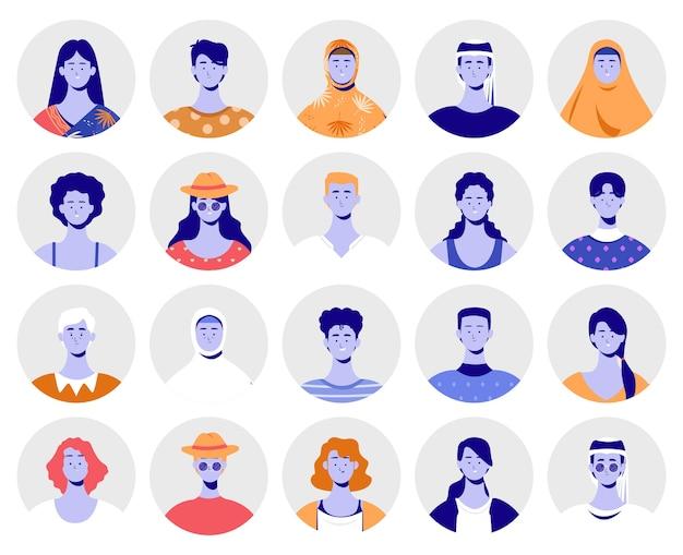 Conjunto de cultura diferente de avatares Vetor Premium