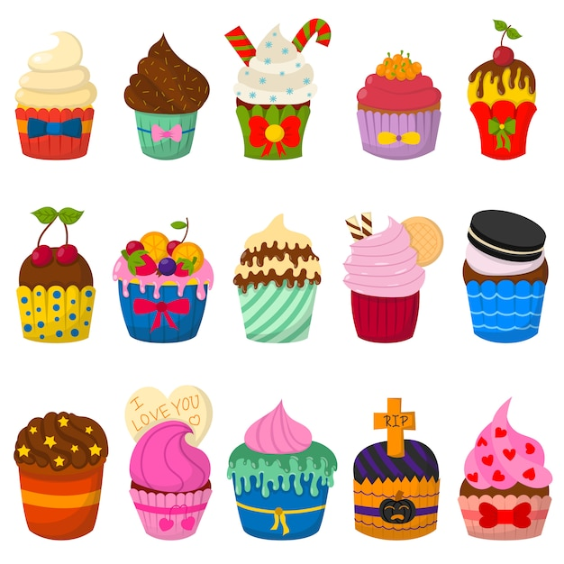 Conjunto de cupcakes vector fofo e muffins isolados Vetor Premium