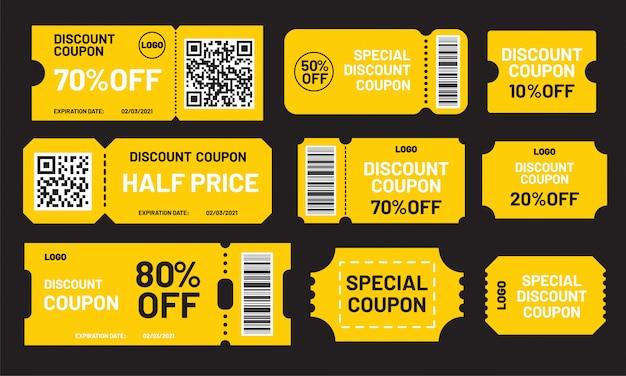 Conjunto de cupom de desconto amarelo. metade do preço, 10, 20, 50, 70, 80% de desconto oferece modelo. cupons especiais de preço especial e melhores cupons promocionais de preços de varejo. Vetor Premium