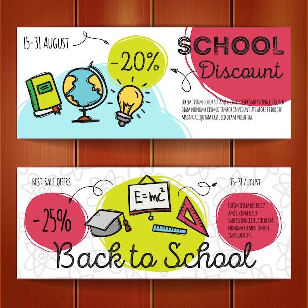 Conjunto de cupons de desconto para acessórios escolares Vetor Premium