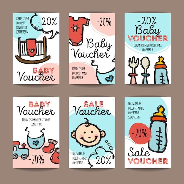 Conjunto de cupons de desconto para produtos de bebê Vetor Premium