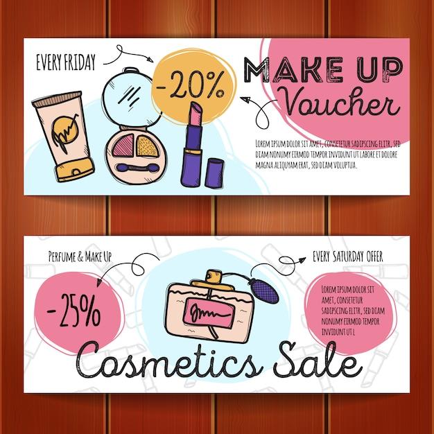 Conjunto de cupons de desconto para produtos de maquiagem Vetor Premium