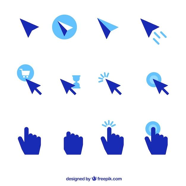 Conjunto de cursor azul Vetor grátis