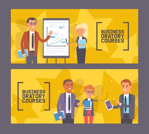Conjunto de cursos de oratória de negócios de banners mulher e homem em pé perto de apresentação com gráfico com ponteiro, pessoas com cadernos. Vetor Premium