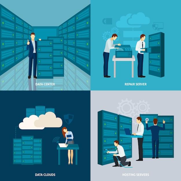Conjunto de data center Vetor grátis