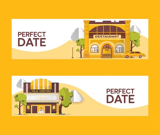 Conjunto de data perfeita de ilustração de banners. restaurante e edifícios de cinema. centro de filme entre árvores. carro dirigindo para o café. assistindo filmes. comer fora. cidade da noite do dia. Vetor Premium