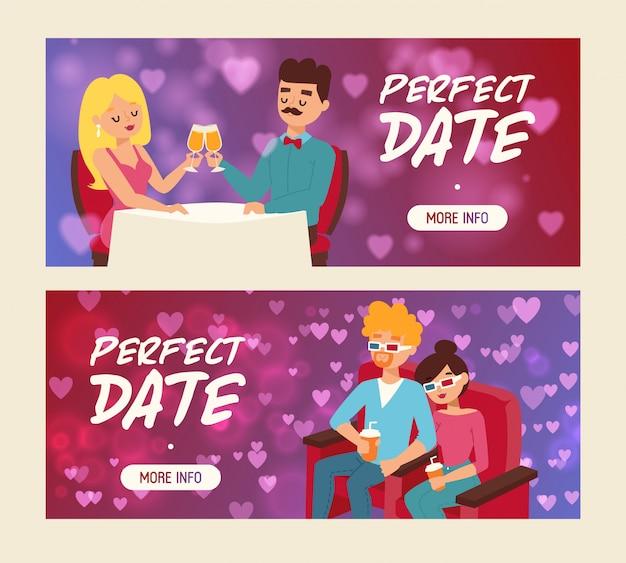 Conjunto de data perfeita de ilustração vetorial de banners. pessoas sentadas no restaurante e bebendo champanhe. cople bebendo refrigerante em copos 3d no cinema. Vetor Premium