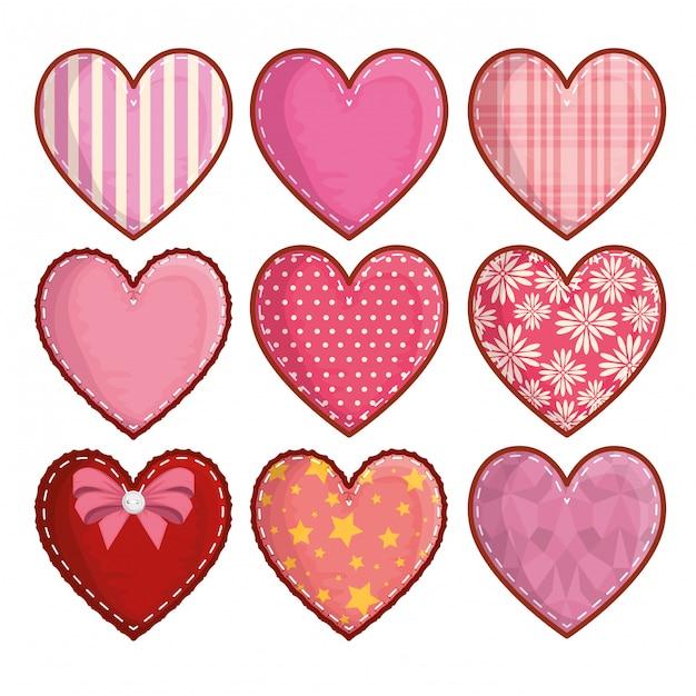 Conjunto de decoração de corações e símbolo do romance Vetor Premium