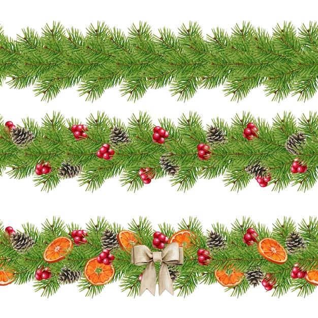 Conjunto de decoração floral de natal Vetor Premium