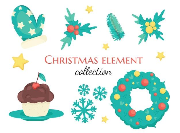 Conjunto de decorações de natal fofas Vetor Premium