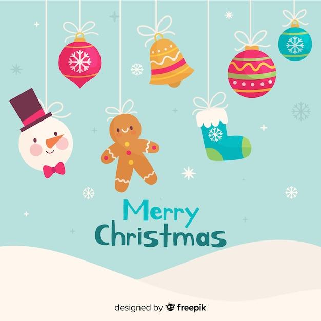 Conjunto de decorações de natal mão desenhada Vetor grátis