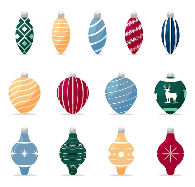 Conjunto de decorações para árvore de natal Vetor Premium