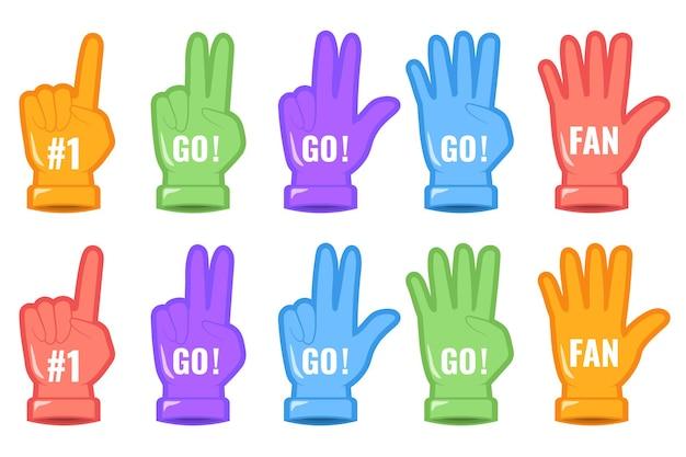 Conjunto de dedos de mão de espuma. esporte apoiando o fã de sinal número um. design número um e go. página do site e design do aplicativo móvel. elementos para ilustrar o suporte esportivo. ilustração em vetor plana, eps 10 Vetor Premium