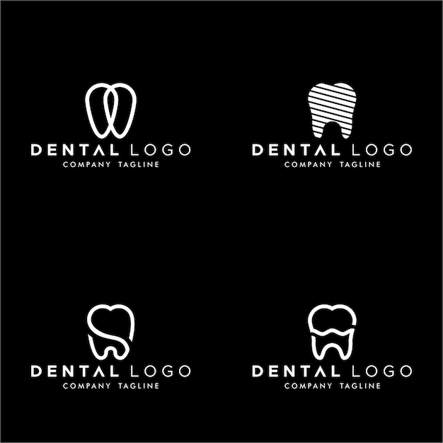 Conjunto de dental premado logo monogram dentes simples Vetor Premium