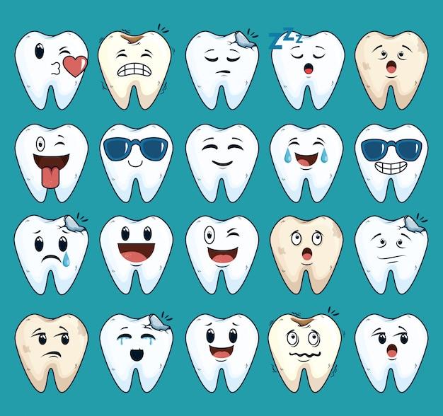 Conjunto de dentes cuidados tratamento com medicina dentária Vetor grátis