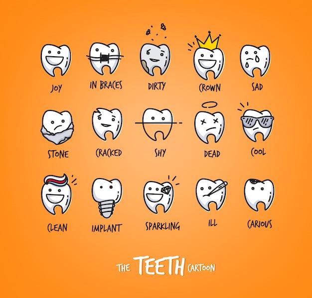 Conjunto de dentes em diferentes situações, desenho em fundo laranja. Vetor Premium
