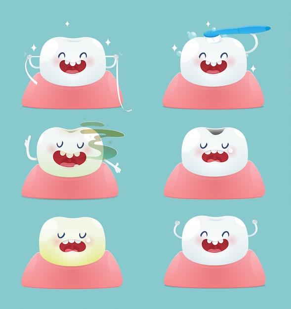 Conjunto de dentinhos bonitos - saúde total e problemas dentários - ilustração e desenho vetorial Vetor Premium