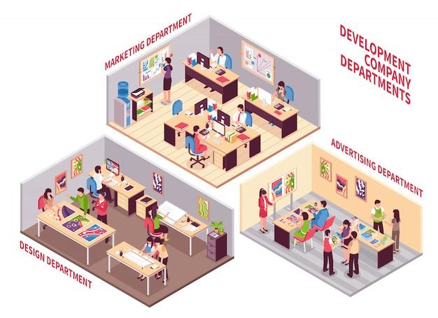 Conjunto de departamentos da empresa de desenvolvimento Vetor grátis