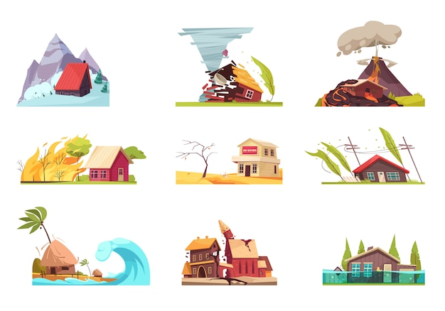 Conjunto de desastres naturais Vetor grátis