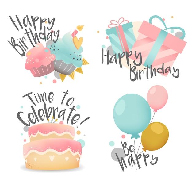 Conjunto de desejos de aniversário design vector Vetor grátis