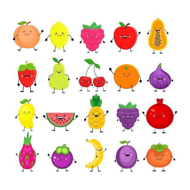 Conjunto de desenho animado de frutas diferentes. sorrindo, pêssego, limão, manga, melancia, cereja, maçã, abacaxi, framboesa, morango, laranja, fruta do dragão, banana, ameixa, caqui, mamão, figos. Vetor Premium