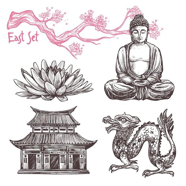 Conjunto de desenho asiático Vetor grátis