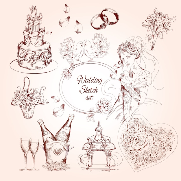 Conjunto de desenho de casamento Vetor Premium