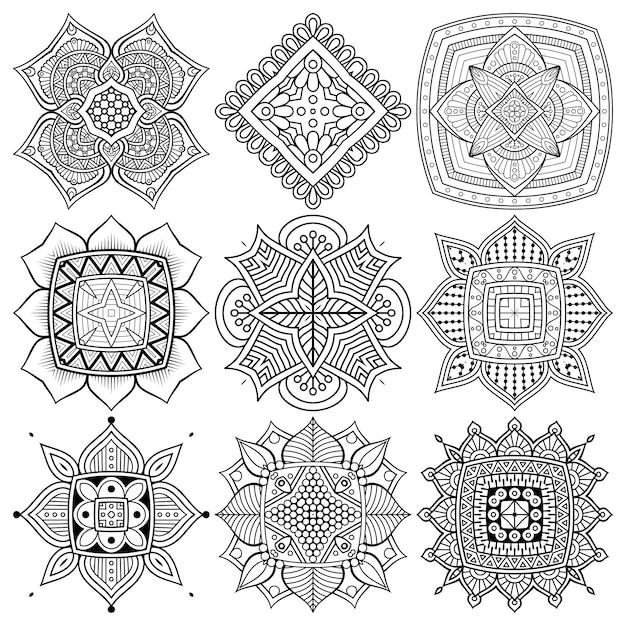 Conjunto de desenho de mandala étnica. Vetor grátis