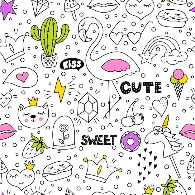 Conjunto de desenho de mão de doodle bonito e colorido Vetor Premium